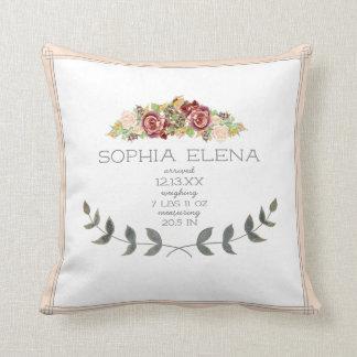 BOHO Modern Rose Floral Laurel Leaf Birth Stat Throw Pillow