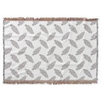 boho native feather pattern throw blanket