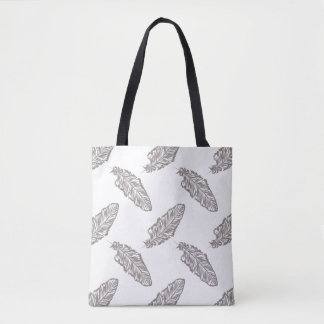 boho native feather pattern tote bag