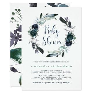 Boho Navy Peony Floral Wreath Baby Shower Card