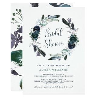 Boho Navy Peony Floral Wreath Bridal Shower Card