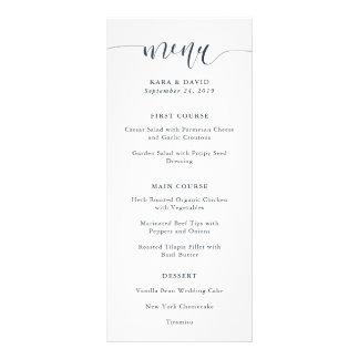 Boho Navy Peony | Modern Calligraphy Wedding Menu