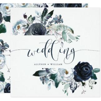 Boho Navy Peony Wedding | Modern Calligraphy Card