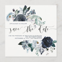 Boho Navy Peony Wedding Save the Date