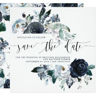 Boho Navy Peony Wedding Save the Date Card