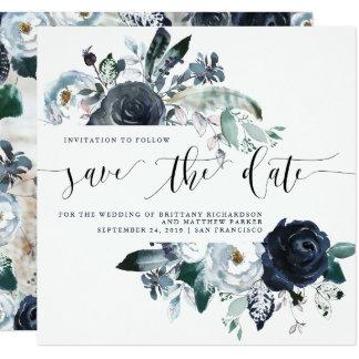 Boho Navy Peony Wedding Save the Date | Photo Card