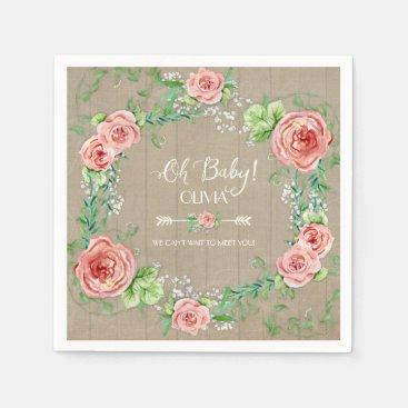 Toddler & Baby themed BOHO Oh Baby Girl Shower Arrow Flower Crown Wood Napkin