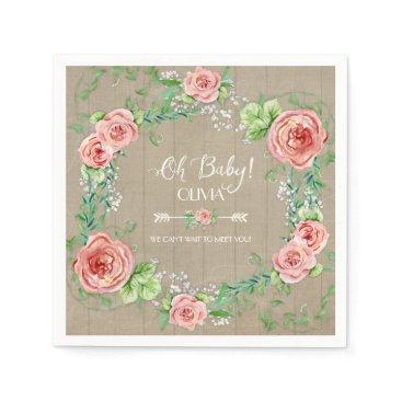 luxuryweddings BOHO Oh Baby Girl Shower Arrow Flower Crown Wood Napkin
