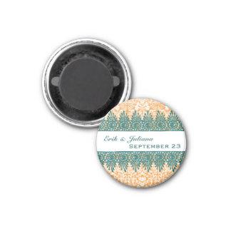 Boho Orange Damask Teal Save the Date Magnet