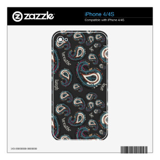 Boho Paisley and Word Art Decals For The iPhone 4