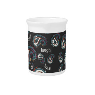 Boho Paisley and Word Art Drink Pitcher