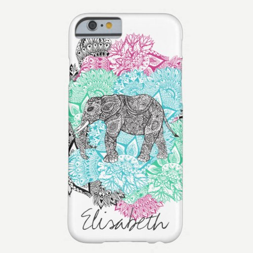 Boho paisley elephant handdrawn floral monogram barely there iPhone 6 case