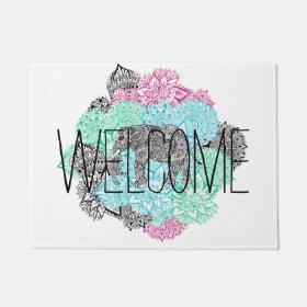Boho paisley elephant handdrawn pastel floral doormat