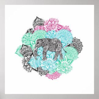 Boho paisley elephant handdrawn pastel floral poster