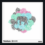 """Boho paisley elephant handdrawn pastel floral wall sticker<br><div class=""""desc"""">A modern, boho and tribal hand drawn elephant in black and white on a botanical bouquet of abstract pastel pink, mint , teal and gray ethnic floral paisley mandala pattern. The wild elephant and hippie mandala feature flowers, abstract geometric shapes and henna style pattern. The background color is fully customizable,...</div>"""