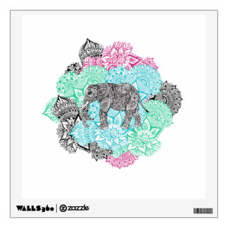 Boho paisley elephant handdrawn pastel floral wall sticker
