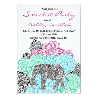 Boho paisley elephant pastel floral Sweet 16 5x7 Paper Invitation Card