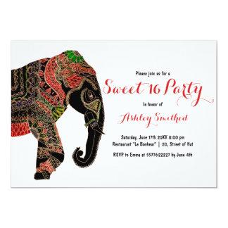 Boho paisley Indian ornate elephant Sweet 16 Card