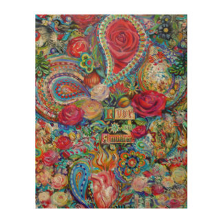 """Boho Paisley Love One Another 11"""" x 14"""" Wood Wall Art"""