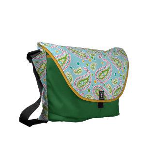 Boho Paisley on Sky Blue Courier Bag