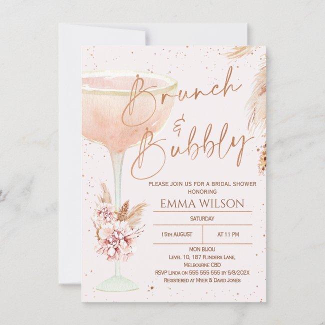 Boho Pampas Rose Gold Brunch Bubbly Bridal Shower Invitation