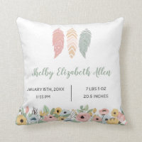 Boho Pastel Feathers | Floral Baby Nursery Throw Pillow