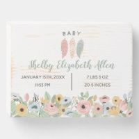 Boho Pastel Feathers New Baby Nursery Wooden Box Sign