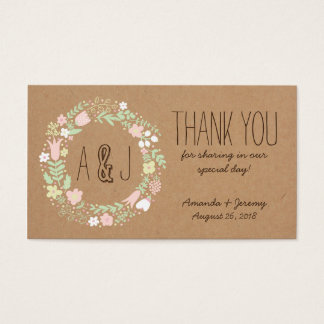 Boho Pastel Floral Wreath Rustic Wedding Business Card