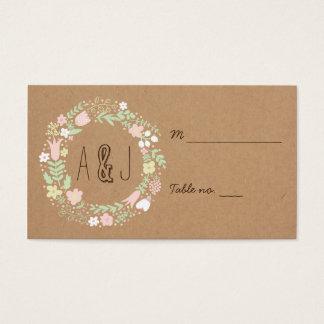Boho Pastel Floral Wreath Rustic Wedding Business Card