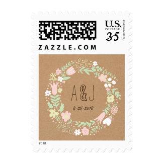 Boho Pastel Floral Wreath Rustic Wedding Postage