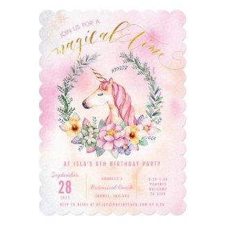 Boho Pastel Unicorn Birthday Party Invitation