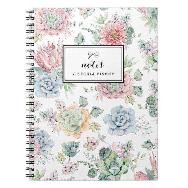 Boho Pastel Watercolor Succulents Pattern Notebook