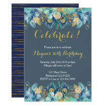 Boho Peacock Feather Gold and Navy Invitation
