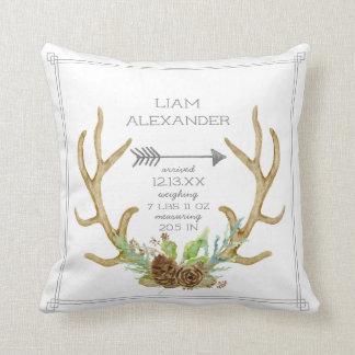 BOHO Pine Forest Deer Antler Arrow Baby Birth Stat Throw Pillow