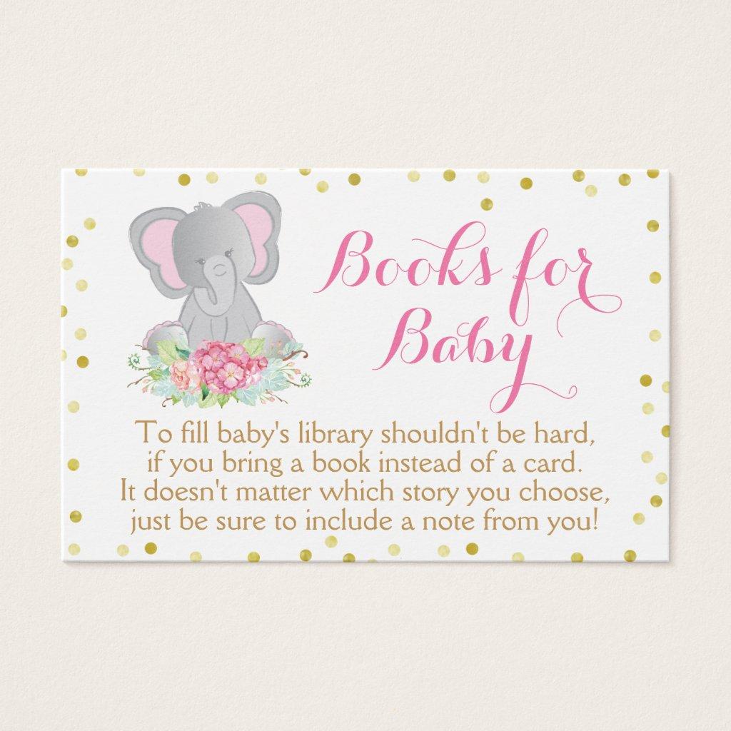 Boho Pink Elephant Baby Shower Bring a Book Card