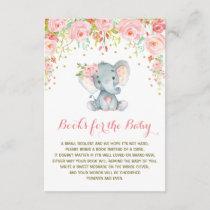 Boho Pink Floral Elephant Bring a Book Insert Card