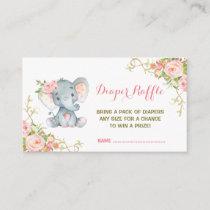 Boho Pink Floral Elephant Diaper Raffle Ticket Enclosure Card