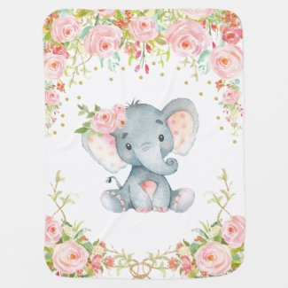 Boho Pink Floral Elephant Nursery Baby Blanket