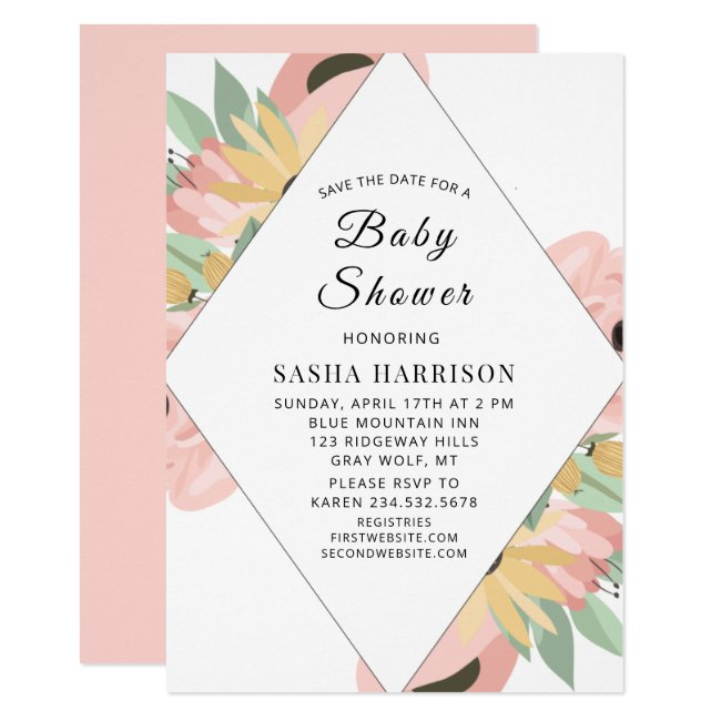 Boho Pink Green Spring Floral Girl Baby Shower Invitation