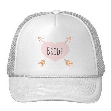 Beach Themed Boho Pink Heart and Arrows Trucker Hat
