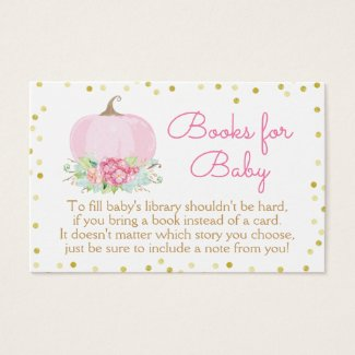 Boho Pink Pumpkin Baby Shower Bring a Book Card
