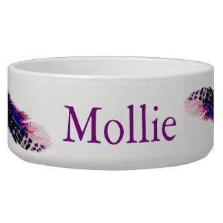 Boho Pink Spotted Watercolor Feathers Pet's Name Bowl