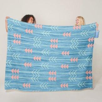 Boho Pink White and Blue Arrow Fleece Blanket
