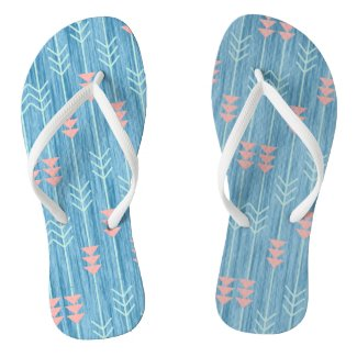 Boho Pink White and Blue Arrow Flip Flops