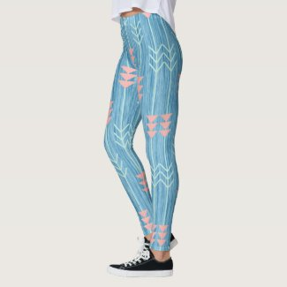 Boho Pink White and Blue Arrow Leggings