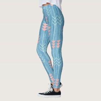 Boho Pink White and Blue Arrow Leggings