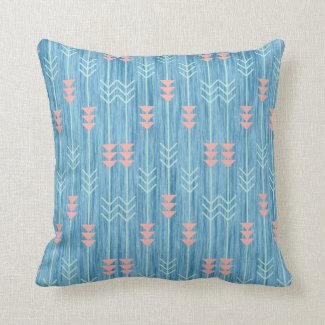 Boho Pink White and Blue Arrow Throw Pillow