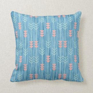 Boho Pink White and Blue Arrow Throw Pillow