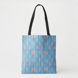 Boho Pink White and Blue Arrow Tote Bag