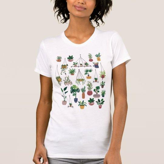 Boho Plant Lady Illustration Art T-Shirt